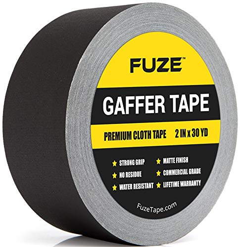 New: Black Gaffers Tape - 1 Roll - 30 Yards & 2 inch Wide Waterproof Gaffer Matte Cloth Fabric for pro Photography, Filming Backdrop, Production Equipment