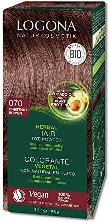 Logona Herbal Hair Dye Chestnut Brown Natural Vegan Plant Based 3.5 Ounce