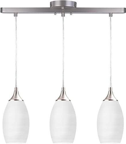 NALATI 3-Light Kitchen Island Bell Pendant Light, Brushed Nickel Finished with Adjustable Cord Mounted Fixture White