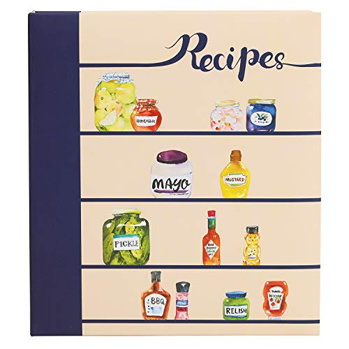 COFICE Recipe Book Binder - 3 Ring, Large Protector, 4x6 Cards and Tabbed Dividers, Seasoning Design