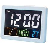 ファッション LED デジタルデスク時計 - 現代 ベッド サイド 大画面 LED 目覚まし時計 日付、気温付き (ホワイト)