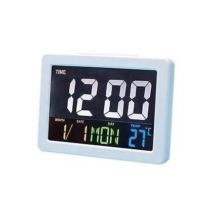 HJsheng Modern Fashion Home LED Digital Desk Clock - Bedside Large Screen  LED Alarm Clock with Date, Temperature (White)