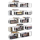 BHG Wall Mount Media Storage Rack Cd DVD Organizer 34 Inch Metal Floating Shelf Set of 5 White