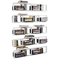 BHG Wall Mount Media Storage Rack Cd DVD Organizer 34 Inch Metal Floating Shelf Set of 5 White