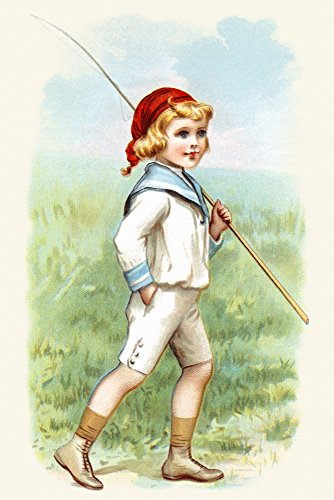 Victorian trade card of a boy in a sailor outfit carrying a fishing pole This card would be printed over with a product and a name of a company They then were given out at local shops as advertising