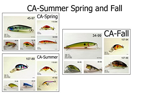Akuna Seasonal Lures for Bass Fishing for Each of The USA 50 States (Pack of 15), California, Spring/Summer/Fall