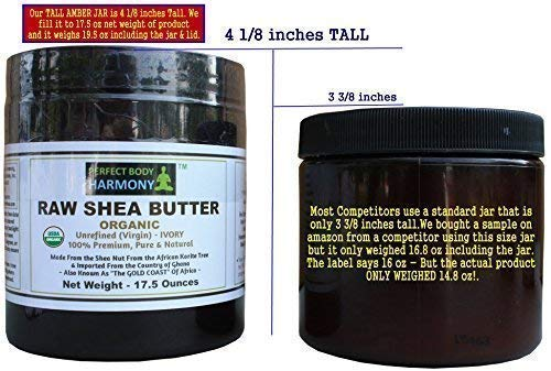 Certified ORGANIC RAW SHEA BUTTER, Huge 17.5 oz Tall Amber BPA Free Jar Unrefined, Virgin, Ivory White (Tan) Premium Quality Made in Africa From The Shea Nut; Best Non-comedogenic Natural Moisturizer.