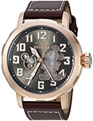 Invicta Mens Disney Limited Edition Automatic Metal and Leather Casual Watch, Color:Brown (Model: 23796)