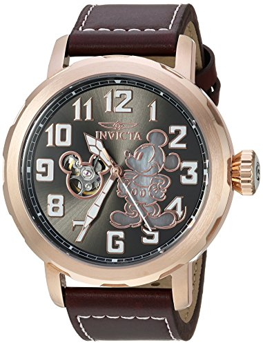 Invicta Men s Disney Limited Edition Automatic-self-Wind Watch with Leather Calfskin Strap, Brown, 24 Model 23796