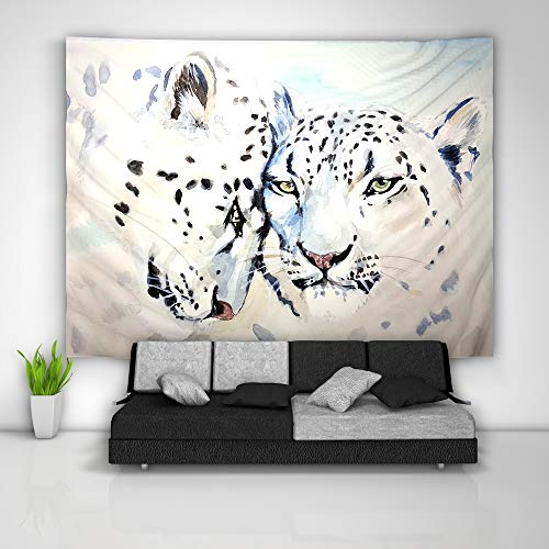 unbrand Snow Leopard Tapestry Art Wall Hanging Sofa Table Bed Cover Mural Beach Blanket Home Dorm Room Decor -