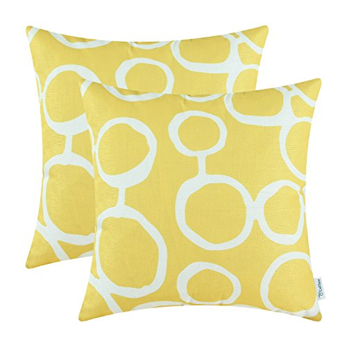 CaliTime Pack of 2 Throw Pillow Covers Shells for Couch Sofa Home Decoration Modern Connected Circles Rings Geometric 18 X 18 inches Bright Yellow