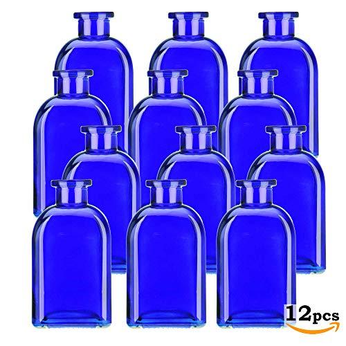 Glassnow C6054G15-N 12 Piece 8.5 oz Roma Glass Bottle Without Cork, Cobalt Blue
