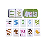 Cute Cognition Puzzle Cards in Metal Storage Box,Numbers/Letters/Shapes/Animals Early Learning Toys for Toddlers Kids 0-6 Years Old Gift (#1)