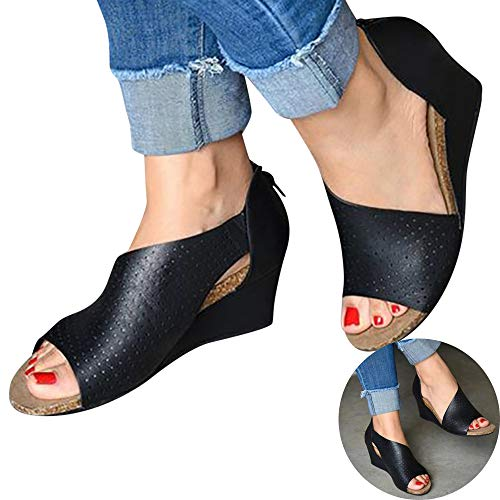 Woman Hollow Wedged Roman Sandals Comfy Fish Mouth High Water Platform Flock Leather Sandals High Heel Beach Shoes (Black, 8.5 M US)