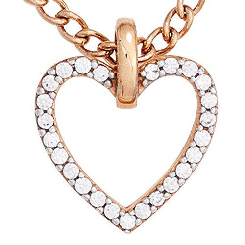 Pendentif en forme de cœur avec zirconia sertis blanc et rose en or 333 en forme de pendentif cœur pour femme