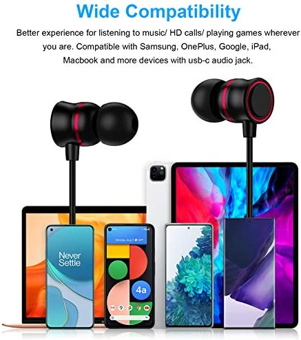 TITACUTE Galaxy S21 Earbuds, USB C Headphones with Microphone Noise Cancelling Headphones Stereo Sound Wired in Ear Type C Earphones Compatible with Samsung S20 S21+ OnePlus 8T 8 9 Pro Pixel 5 Black