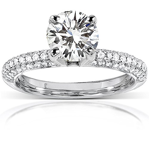 (Round Moissanite Engagement Ring with Micro-Pave Diamond 14k White Gold (8mm), Size 6.5, White Gold)