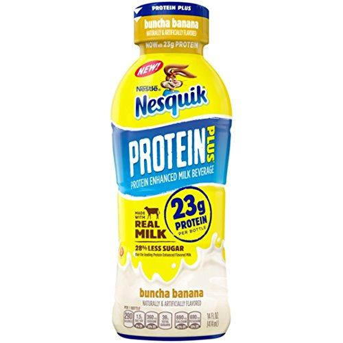 Nestle Nesquik Protein Plus Milk 14 oz Plastic Bottles - Pack of 12 (Buncha - Banana Nesquik