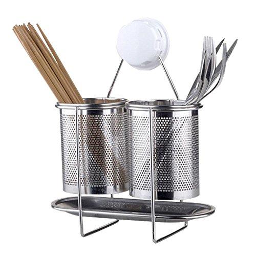 Knife Bucket (Wall Hanging Stainless Steel Chopsticks Tube Tableware Storage Rack Kitchen Utensils Drying Rack Shovel Spoon Bucket Knife Fork Storage Box SuckingDiskOrganizer Shelf)