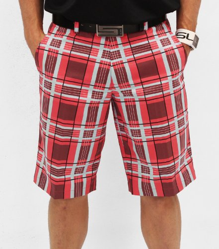 Sligo Plaid Men's Golf Shorts - Electric Coral (32, Electric (Sligo Golf)