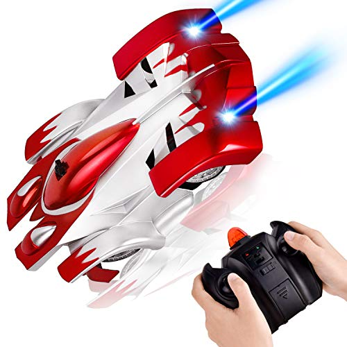 Rainbrace Gravity Defying Toy Cars for 6-10 Year Old Boys Wall Climbing RC Car USB Rechargeable Kids Remote Control Car Toys for Girls Boys Age 6,7,8-16 - Red