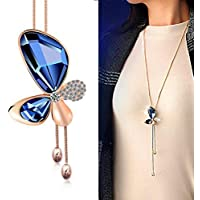 Yellow Chimes Butterfly Collection Gold Plated and Cubic Zirconia Pendant for Girls (Blue; Rose Gold)(YCFJNK-215BTR-BL)