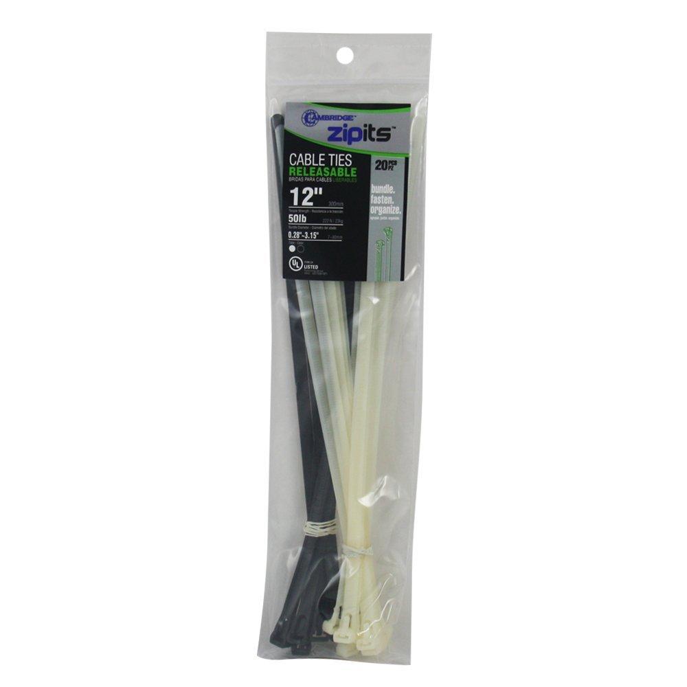 Cambridge ZipIts Cable Ties 12 50 Lbs 20 Pcs Assortment Standard Duty Releasable Reusable Natural UV Black