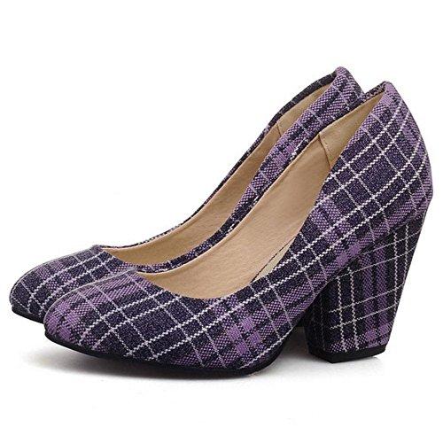 Coolcept Zapatos Casual de Tacon Ancho Para Mujer Purple