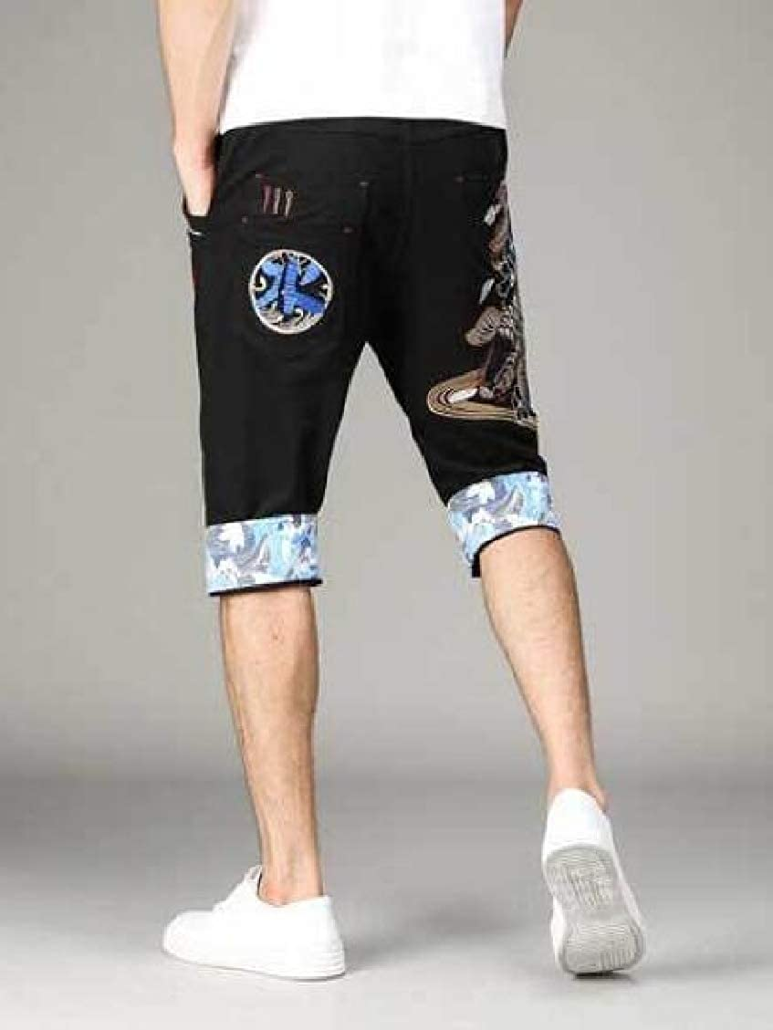 Pluszing Mens Embroidery Capri Print Chinese Style Shorts