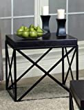 Cheap Roundhill Furniture Erica Black Metal and Espresso Wood End Table