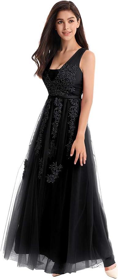 Última Moda Negro Encaje Floral Boda Noche Baile de graduación Vestido Largo Talla 8 10 12 14