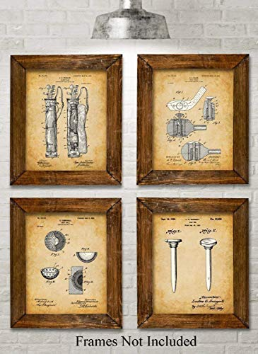 Original Golf Patent Art Prints - Set of Four Photos (8x10) Unframed - Makes a Great Gift Under $20 for Golfers
