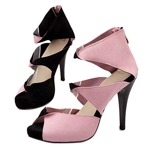COOLCEPT Mujer Moda Sin Cordones Sandalias Peep Toe Tacon Aguja Zapatos With Cremallera Negro
