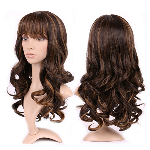 Heat Resistant Synthetic Wig Japanese Kanekalon Fiber 15 Styles Full Wig with Bangs Long Hair Full Head 17'' / 17 inch+Stretchable Elastic Wig Net for Women Girls Lady,Black coffee (Used Wigs For Sale)