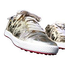 KARAKARA Spike-less Golf Shoes, KR-404, Tow Colors (Gold & Black) 225 - 280 mm, Man & Women