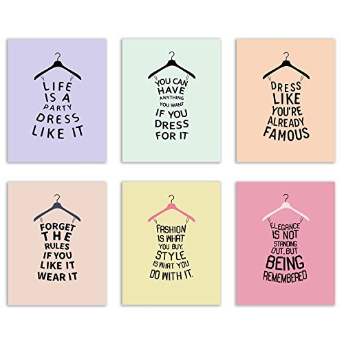 Cute Dress Hanger Quote Prints - Set of 6 Fashion Silhouette Typography Wall Art Decor Photos 8x10