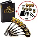 Professional Darts Set -   Steel Tip Darts  &  Dart Accessories Kit   - 6 Brass Barrels 20 grams with  12 Black Aluminum Shafts 6x 35mm , 6x 48mm and  12 Flights +  Dart Sharpener +  Premium Case