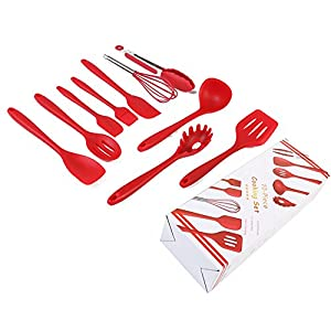Silicone Utensils, Heat Resistant Silicone Kitchen Utensils Set of 10 Pieces, Non Stick - Non Scratch Cooking Utensils Kitchen Good Helper