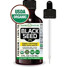 Premium Black Cumin Seed Oil By Madre Nature | Cold Pressed Black Cumin Seed Oil From 100% USDA Organic Nigella Sativa | Natural Dietary Supplement | Solvent Free | Certified Vegan & Non-GMO (4oz)