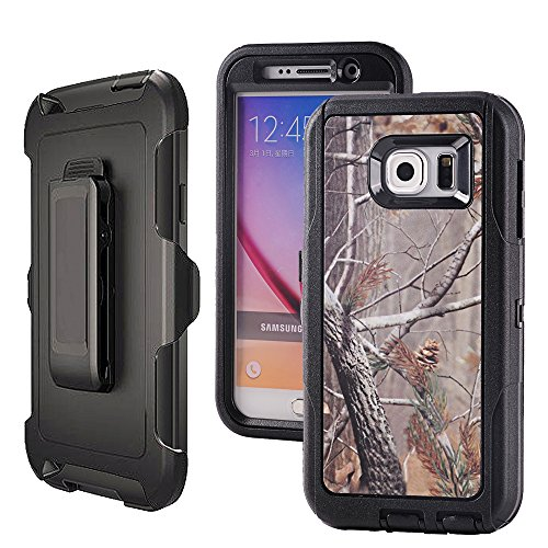 Galaxy S6,Harsel Heavy Duty Shockproof 3-Layer Military Outdoor Sport Rubber Camouflage Wood Design Defender Case Cover with Belt Clip Built-in Screen Protector for Samsung Galaxy S6(Tree-Black)