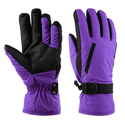 Women's Waterproof Purple Ski Gloves for Skiing, Snowboarding,Cycling and Other Winter Sports...