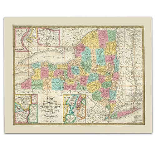 New York State Vintage Map Circa 1832-11 x 14 Unframed Print - Great Housewarming Gift. New York Themed Office Decor. (Best Housewarming Gifts Nyc)