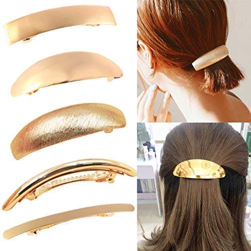 DeD Pack of 5 Women Hair Clips Metel Hair Pins Simple Retro Large Hair Barrettes French Clip Barrettes For Women Lady(Gold)