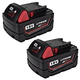 2Packs Replace 18V XC 5000mAh Battery for Milwaukee M18 M18B 48-11-1820 48-11-185048-11-1828 48-11--10 Cordless Power Tools(GERIT BATT)