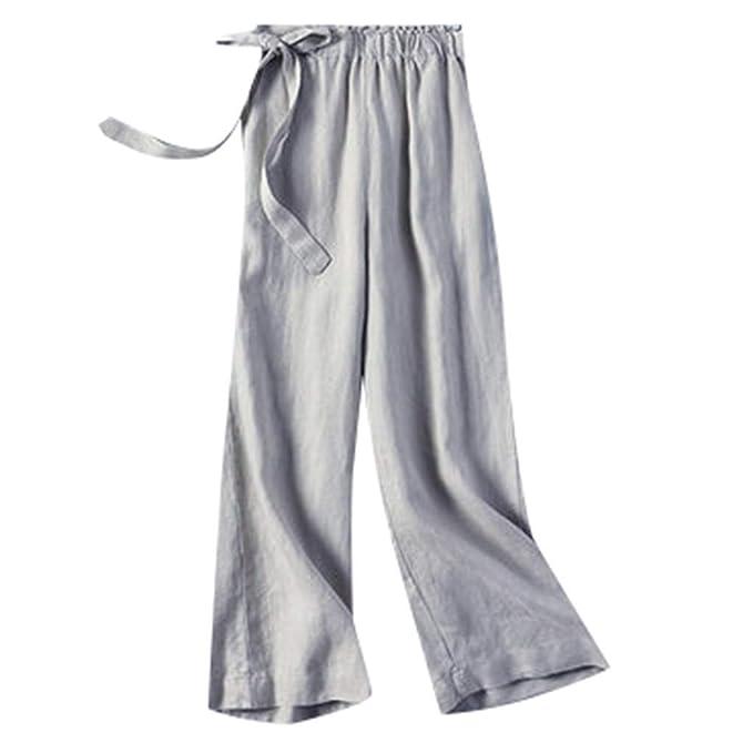 Women Casual Pants Cotton Linen Elastic Waist Loose Long Trousers Holiday Beach
