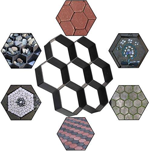 "Walk Maker DIY Concrete Paver Molds Path Maker Mold, Reusable Garden Patio Walkways Hexagon Paving Stone Mold, 11.5"" x 11.5"" x 1.7"" Concrete Molds By STARVAST"