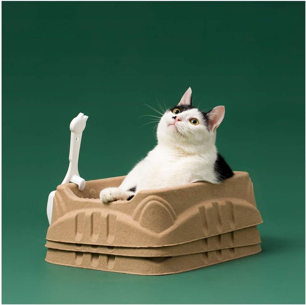 SWQG-Sartén 3 Piezas Salir Al Baño De Gatos Viaje Portátil Papel Corrugado Reciclable para Lavabo De Arena para Gatos Desechable: Amazon.es: Hogar
