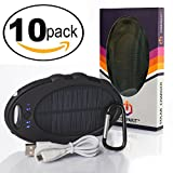 Compakit Solar Phone Charger by 10 Pack- High Capacity 8000 mAh Dual USB Solar Power Bank | Portable External Battery Charger | Universal Compatibility Cell Phone | Perfect Gift for Men & Women