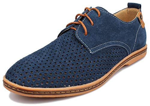 Kunsto Men s Leather Oxfords Dress Shoes Lace up Breathable Upper US Size  10.5 Blue d83e7b251