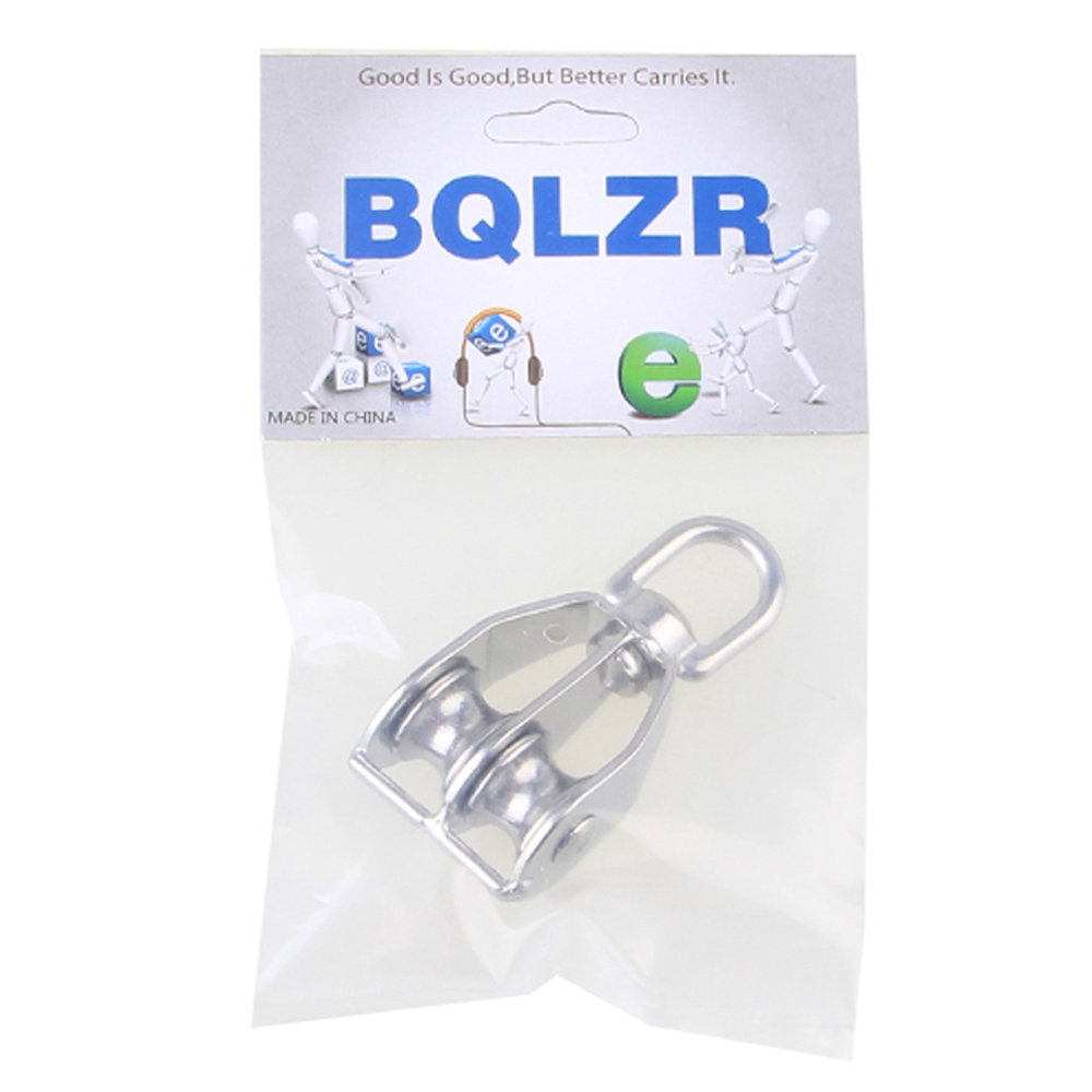 BQLZR M15 Durable Swivel 304 Stainless Steel Double Sheave Wire Rope Pulley Block Chain Traction Wheel